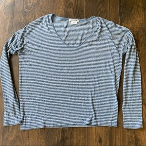 Lacoste Chambray Blue & White Stripe Top 38